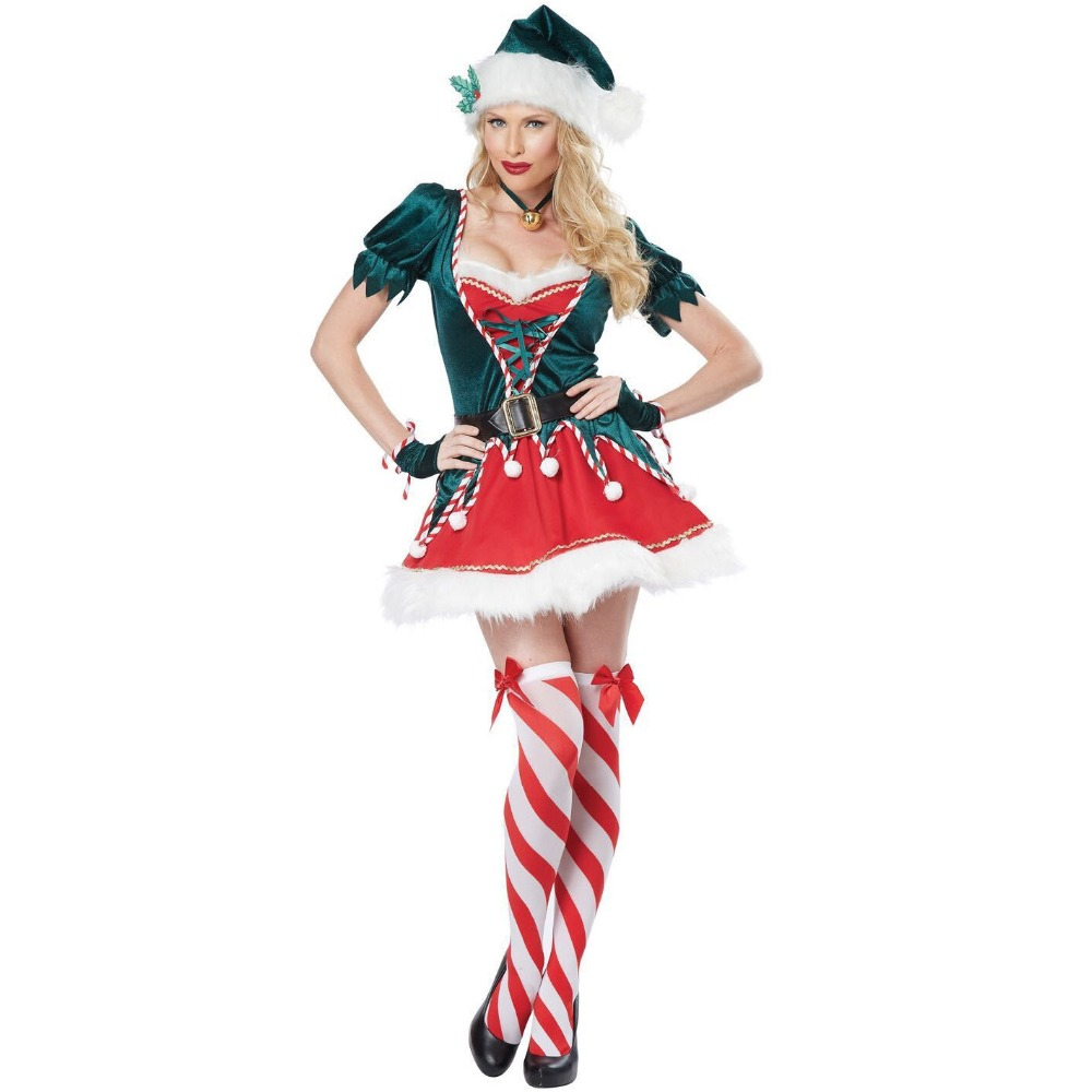 Christmas  Elf Costume Women Green Christmas Tree Santa Helper Elf Xmas Outfit Gift Festival Carnival Cosplay Costume