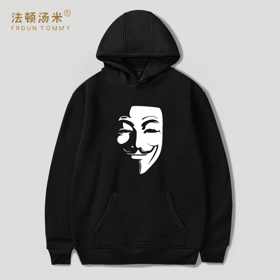 Frdun Tommy V For Vendetta Hooded Women Hoodies Sweatshirts Plus Size Autumn Black Fashion Men Hoodie Casual Hip Hop Clothes