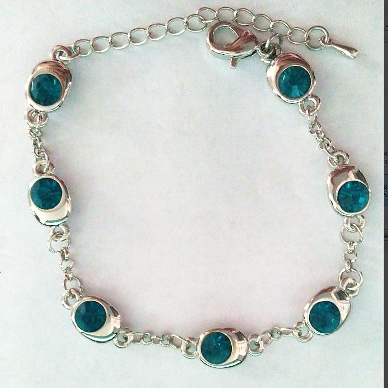 Подарок на день рождения, высокое качество, 7 бусин, Звездные глаза, браслеты с кристаллами, модные ювелирные изделия, 12 цветов, милые Подвески для женщин - Окраска металла: Silver crystal blue