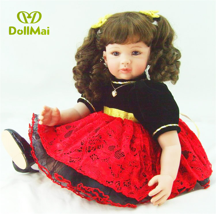 Bebe alive 2256cm high quality curly hair beautiful princess Reborn Babies Silicone vinyl Baby Doll Kids  Birthday Gifts ToysBebe alive 2256cm high quality curly hair beautiful princess Reborn Babies Silicone vinyl Baby Doll Kids  Birthday Gifts Toys