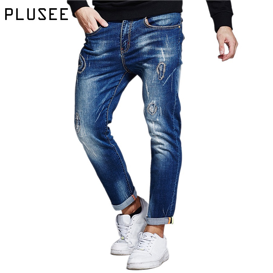 Plusee Men Jeans 2017 Plus Size 4XL 5XL 6XL Blue Ripped Denim Jeans Hole Pocket Casual Male Elastic Straight Big Size Men Jeans denim overalls male suspenders front pockets men s ripped jeans casual hole blue bib jeans boyfriend jeans jumpsuit or04