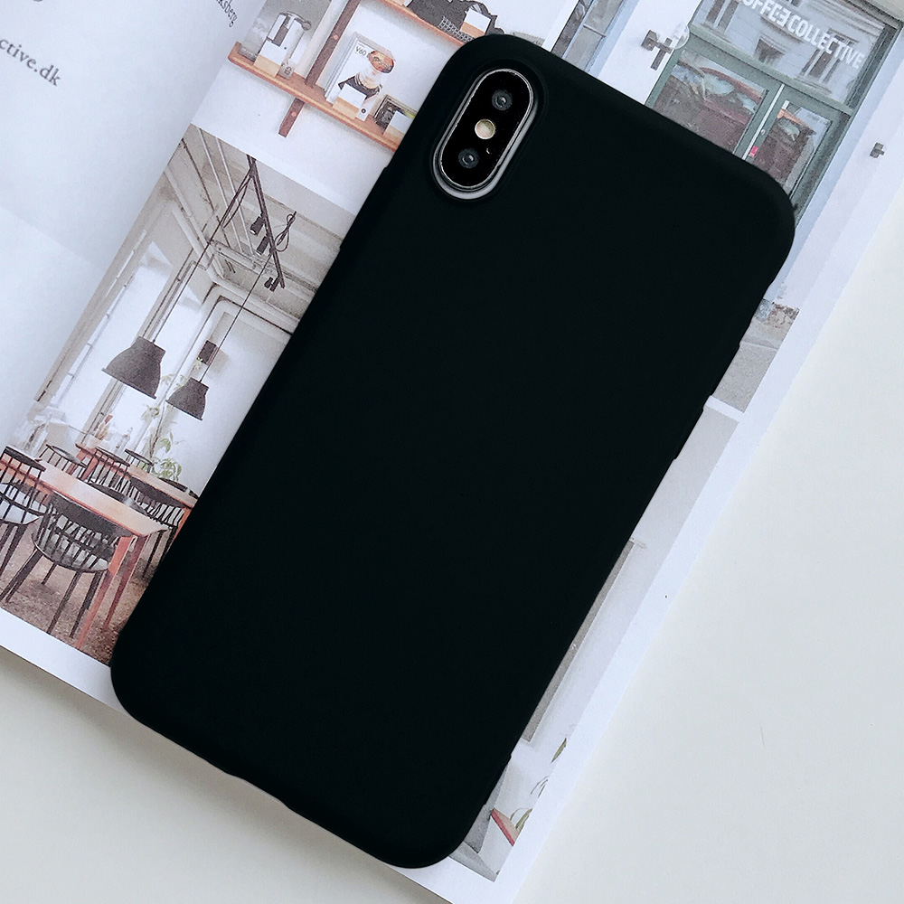 KIPX1124B_1_JONSNOW Pure Color Silicone Case for iPhone XS XR XS Max 6 6S 6P 7 8 Plus Ultra-thin Matte Dirt-resistant Soft TPU Solid Cover