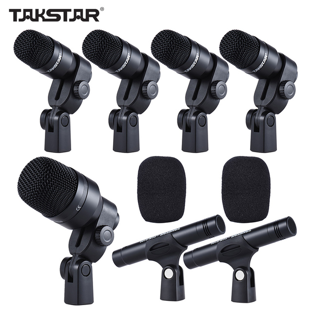 musical instruments drum set wired microphone mic kit 1 big drum microphone 4 small drum. Black Bedroom Furniture Sets. Home Design Ideas