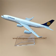 16cm Alloy Metal Germany Air Lufthansa A340 Airlines Airplane Model Lufthansa Airbus 340 Airways Plane Model Aircraft Kids Gifts(China)