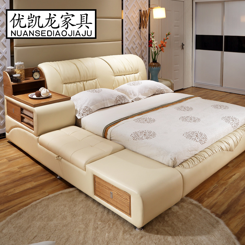 bedroom furniture sets modern leather queen size double bed frame with side cabinet stool no mattress