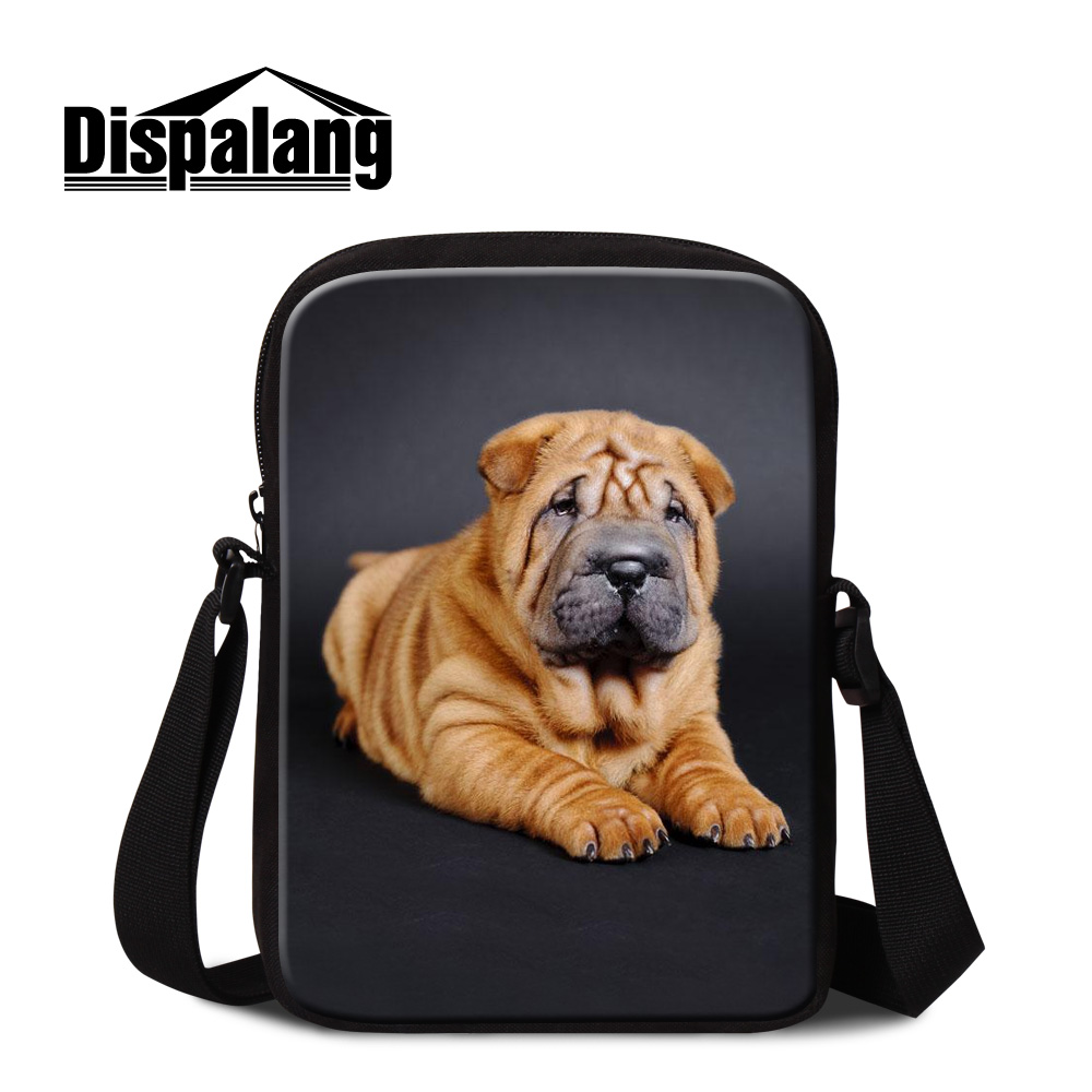 Dispalang Personality Customized Design Belldog School Messenger Bags For Students SharPei Dog Print Women Travel Crossbody Flap