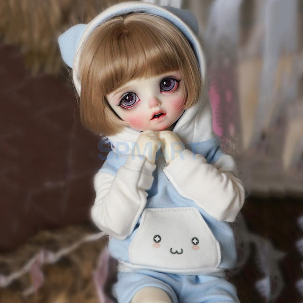 Cute Cat Ear Hoodie Top Pants Stockings Outfit For 1/4 BJD SD MSD LUTS Dollfie Doll Clothes Pink slogan print cat ear marled hoodie