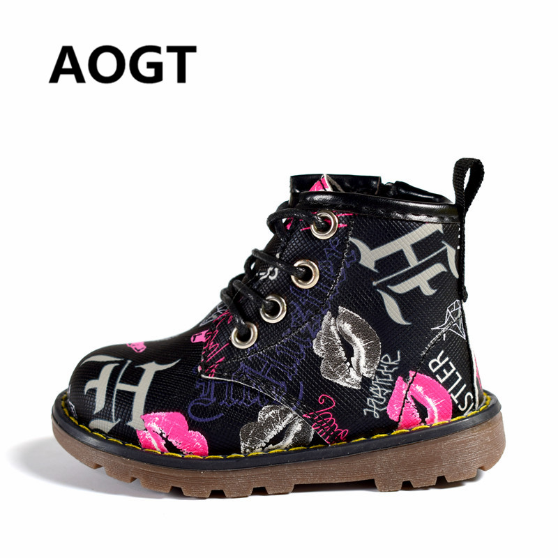 AOGT 2018 New Children Shoes Girls Boys PU Leather Waterproof Martin Boots Fashion Ankle Kids Baby Boots Brand Boy Girl Shoes 2016 winter children genuine leather boots brand boys cotton buckle shoes fashion ankle martin boots for kids