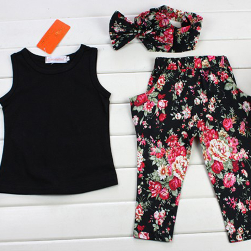 Girls Fashion floral casual suit children clothing set sleeveless outfit +headband 2021 summer new kids clothes set 5