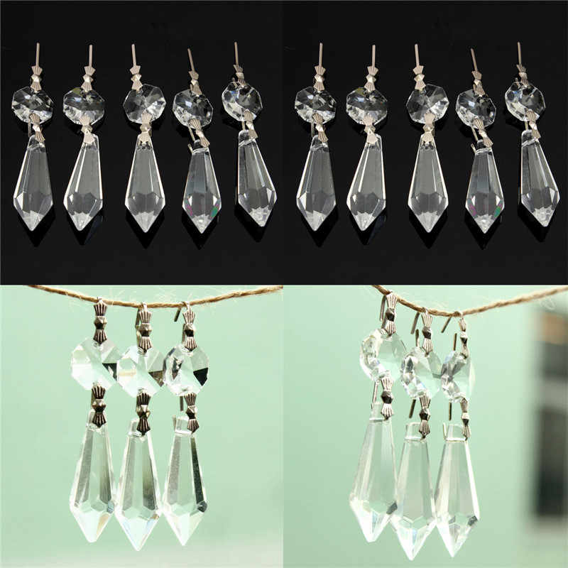 10X для занавески-перегородки вход свободные бусины люстра прозрачное стекло, хрусталь лампа подвисная Призма Подвеска набор 38 мм + 14 мм
