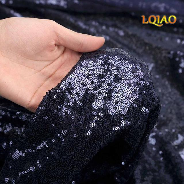 Rose gold navy blue Red Pink Black 4FT 125cm width sequin fabric material by 5 yard for dress shoes wedding party decoration