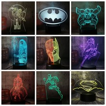 NEW Fresco DC Justice League Superman Batman Mulher Maravilha O Herói Flash 3D LED Night Light Lamp Room Decor de Natal garoto de Brinquedo de presente(China)