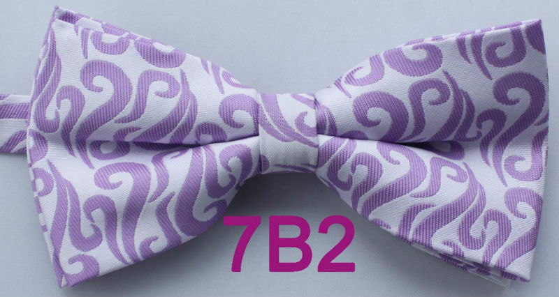 YIBEI Coachella Ties White With Lilac Florals Paisley Bowtie Tuxedo Pre-Tied  Bow Ties Unisex 167b5f83125a