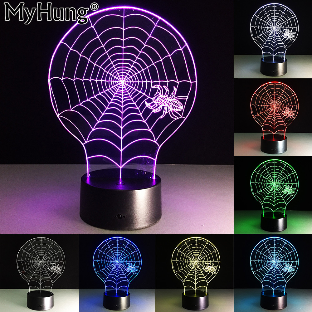 3d thriller spider web night acrylic vision lights usb lamp touch led illusion halloween nightlight remote control table lamp in night lights from lights - Halloween Lights Thriller