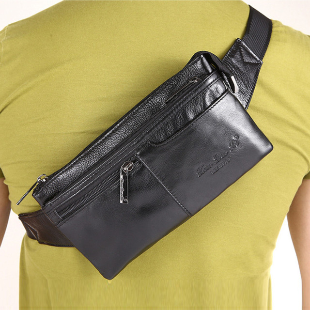 Men's Genuine Leather Cowhide Designer Belt Hip Bum Waist Fanny Pack Coin Purse Travel Male Shoulder Messenger Money Bag Pouch