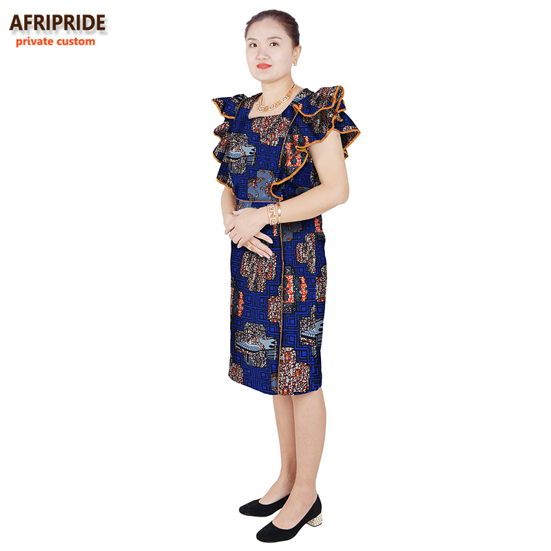 παραδοσιακά αφρικανικά βαμβακερά φορέματα φθινοπώρου για τις γυναίκες στυλ εργασίας γυναικεία αφρικανικά ρούχα μόδα εκτύπωση κερί βαμβάκι συν μέγεθοςA622505