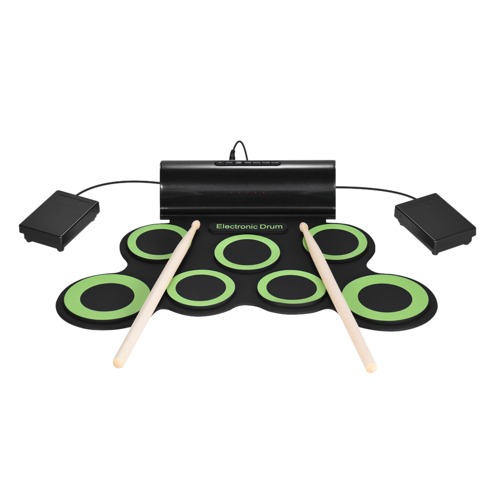 Portable Electric Drum Digital Mono Electronic Drum Set 7 Silicon Pads Built in Speaker USB Powered