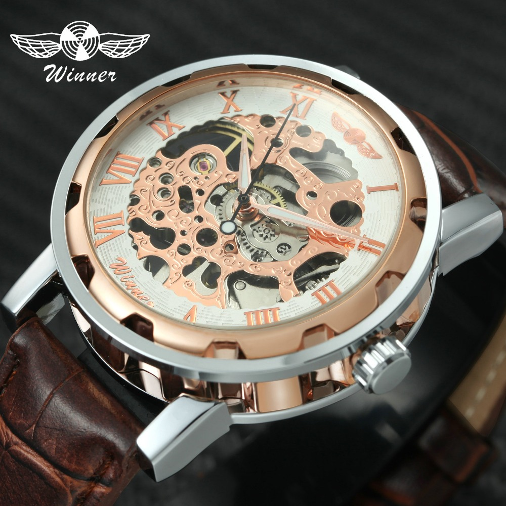 Fashion Ladies Watches Top Brand Luxury WINNER Mechanical Wrist Watches Hand-wind Roman Number Leather montre femme Gifts +BOX fashion winner men luxury brand roman number hand wind leather skeleton military watch automatic mechanical wristwatches gift
