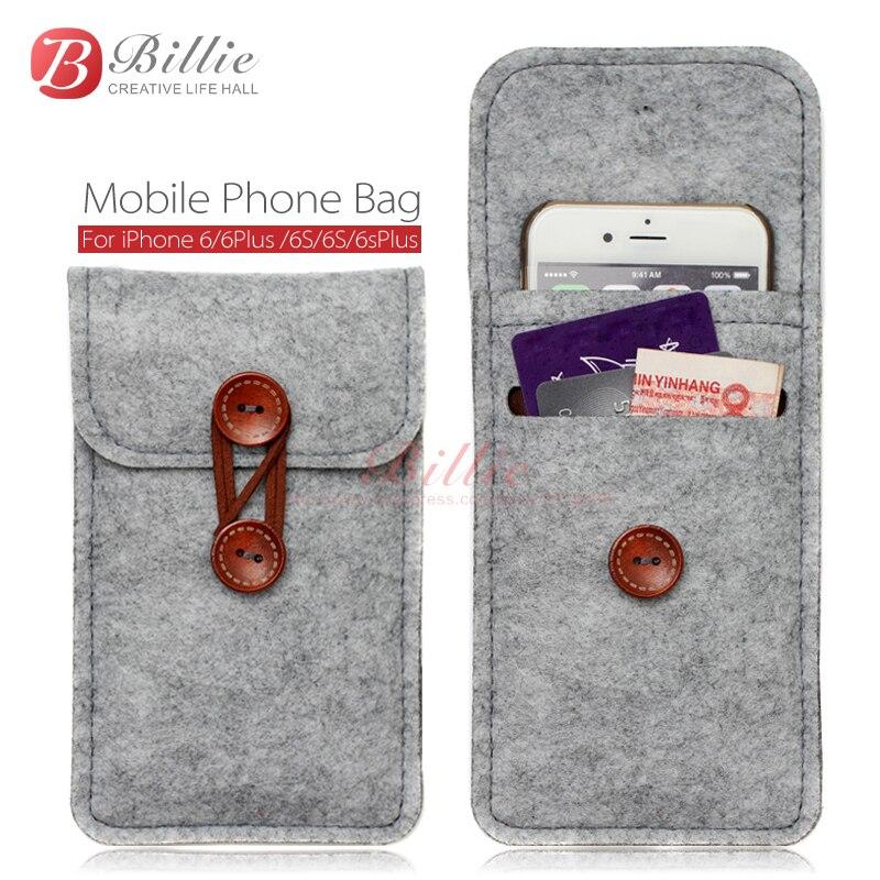 Цена за Телефон сумка Для iPhone 6 s 7 Плюс 5.5 дюймов чехол Для iPhone 6 7 4.7 дюймов сумки мобильный телефон сумки случаи Чехол Шерстяного Войлока Кошелек