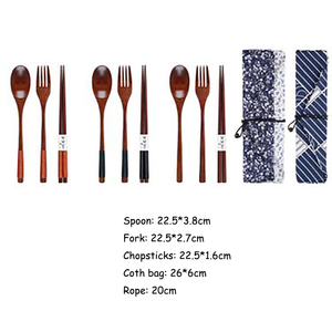 Image 2 - Baispo Portable Tableware Wooden Cutlery Sets with Useful Spoon Fork Chopsticks Travel Gift Dinnerware Suit with Cloth bag