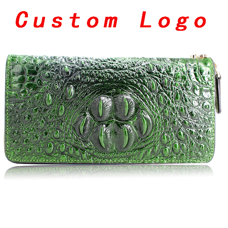 Sample bag Accept Custom Logo Private Label Wholesale Wristlet Wallet For Women Crocodile Leather Wallet genuine leather