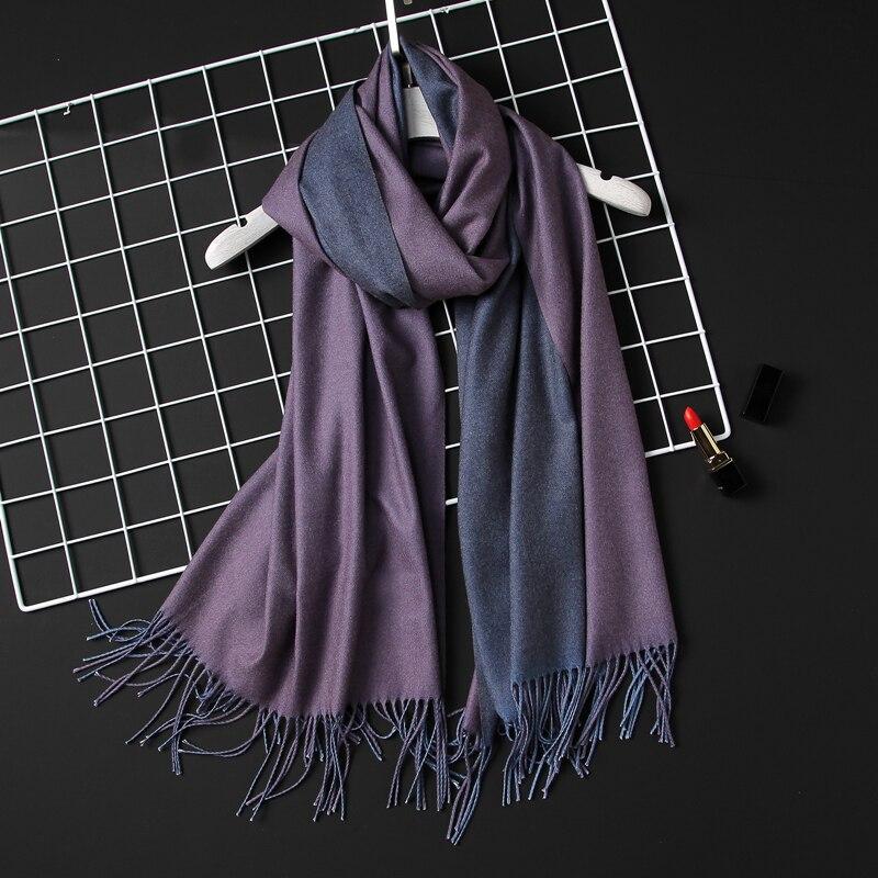 Bufanda de invierno 2018 para mujer, bufandas de Cachemira lisas y suaves para mujer, chales de pashmina y bandana, borla de foulard para mujer