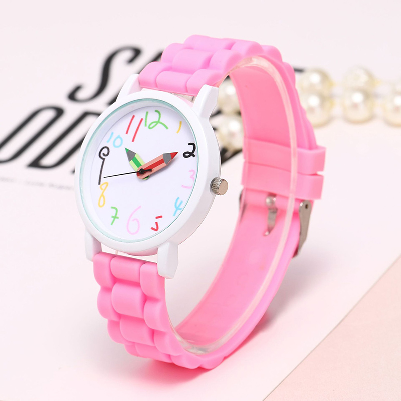 2019 New White Case Children Watches Silicone Belt Pencil Pointer Watch Fashion Girls Kids Paint Clock Dropshipping