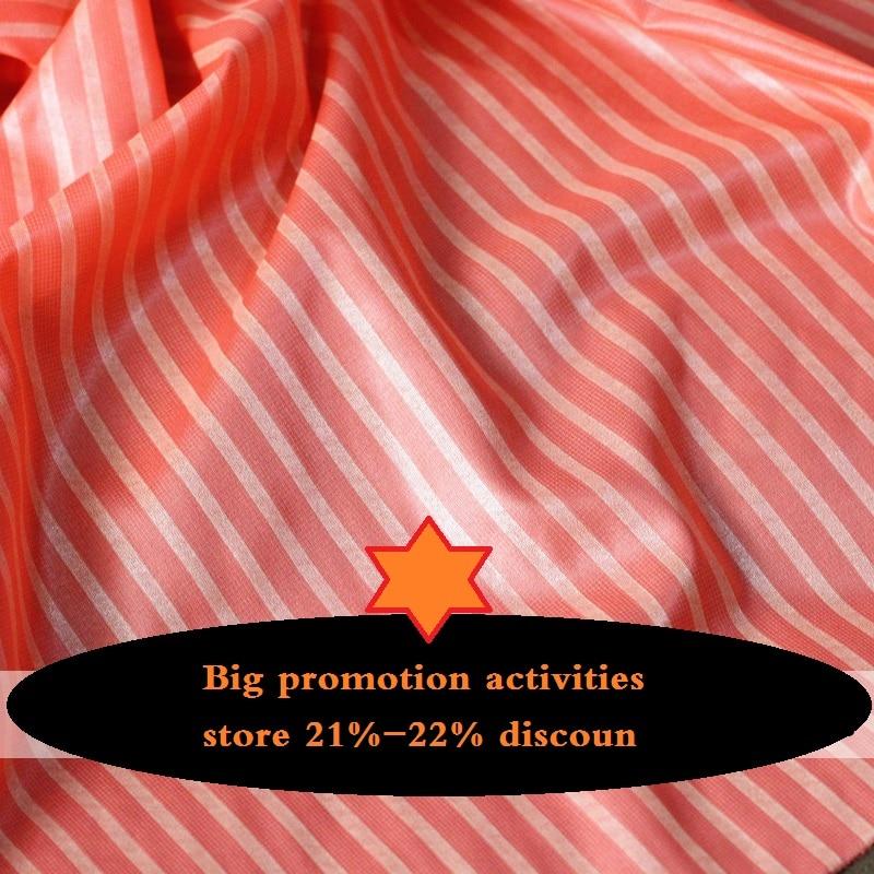 Fashion Stripe Fine Rain Silk Texture Coating Micro Gloss Pink Chiffon Dress Shirt Diy Fabric