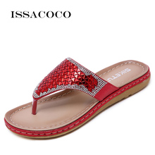 ISSACOCO Summer Shoes Women Bohemia Ethnic Flip Flops Soft Flat Sandals Woman Casual Comfortable Plus Size Wedge 35-42