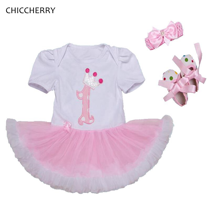 1 Year Girl Baby Birthday Dress Crib Shoes Headband Outfit 3PCS Sets 0-24M Infant Clothing Kids Clothes Girls Birthday Tutu Sets