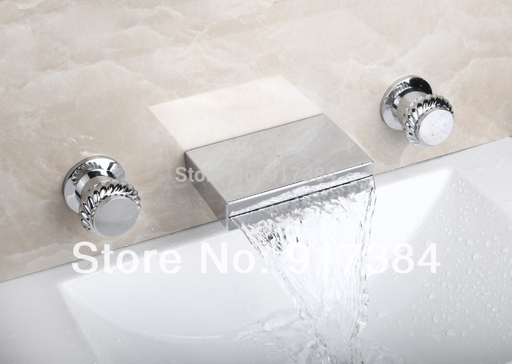 New Waterfall  Ceramic  Double Handles Deck Mounted Bathroom Bathtub Basin Sink Mixer Tap 3 pcs Chrome Faucet Set FG-3123 free shipping polished chrome finish new wall mounted waterfall bathroom bathtub handheld shower tap mixer faucet yt 5333
