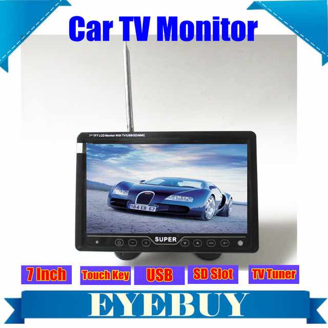 US $64 16  7 inch Touch key LCD Car auto portable dashboard TV Monitor MP3  MP4 AV video player USB SD TV Tuner FM car monitor-in Car Monitors from