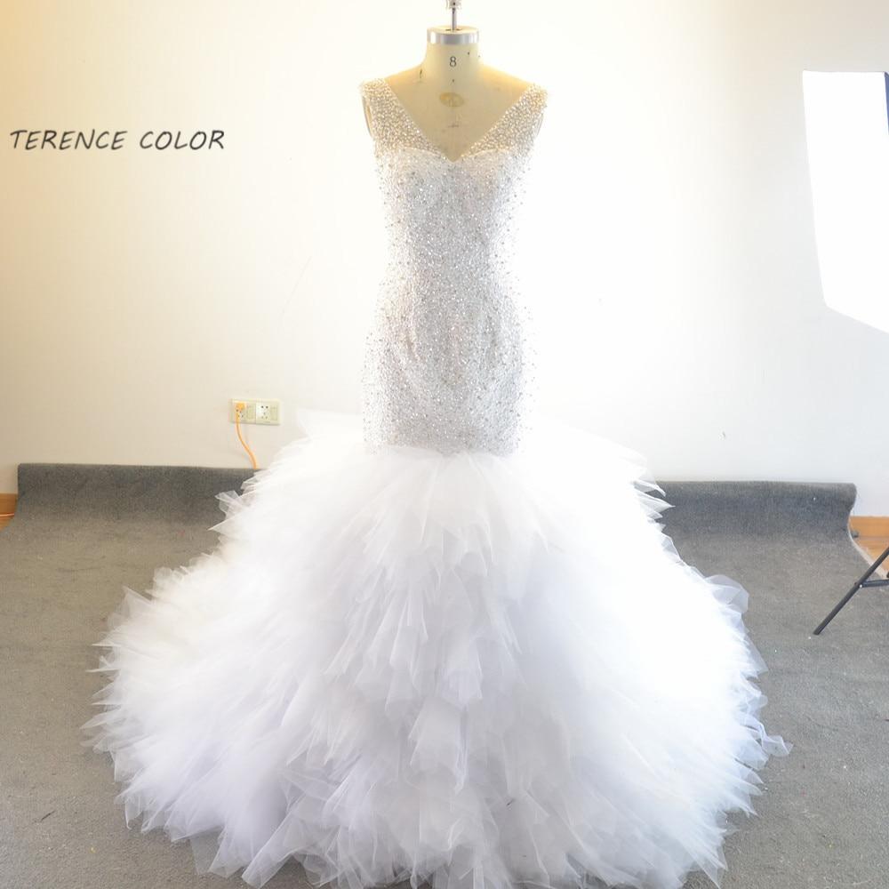 Charming Mermaid Beading Crystal Pearls Long Train V-neck Sexy Wedding Dresses Bridal Gown