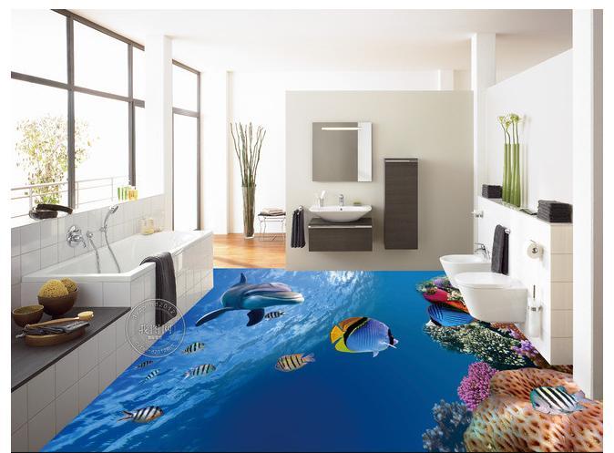ФОТО 3d photo wallpaper custom mural pvc wallpaper The undersea world 3D  bathroom floor painting