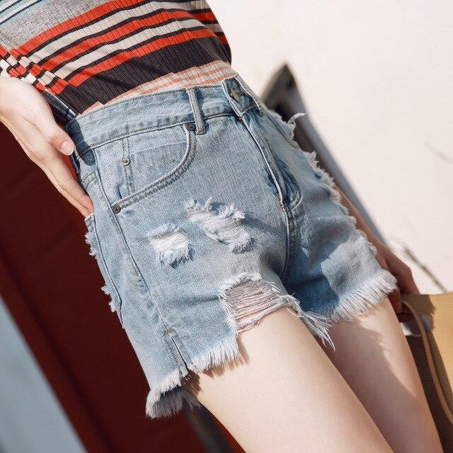 Women summer sexy shorts Euro Style high waist Denim Shorts Jeans mini Short Street Wear korean fashion plus size women clothe 5
