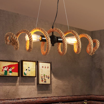 American Country industrial Loft Wrought Iron pipe Hemp Rope Pendant or Ceiling Lamp Retro Bar Cafe