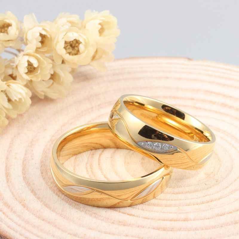 10ชิ้น/ล็อตขายส่งคู่CZแหวนสำหรับผู้หญิงผู้ชายสแตนเลสเครื่องประดับจัดงานแต่งงานให้ผสมขนาด