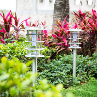 led solar lawn lights with ground stakes stand outdoor solar path light stainless steel waterproof garden decorative lamp