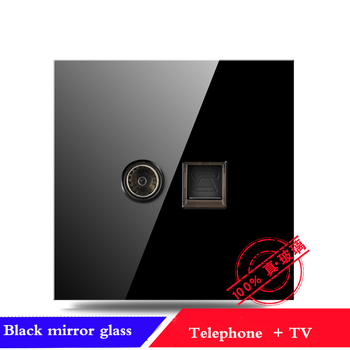 EU France Germany UK socket Full set of 86 type 1 2 3 4 gang 1 2way black mirror glass wall switch LED light switch Industry 12