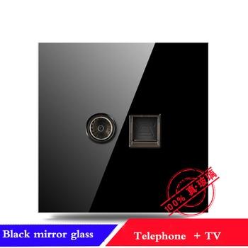 EU France Germany UK socket Full set of 86 type 1 2 3 4 gang 1 2way black mirror glass wall switch LED light switch Industry 12