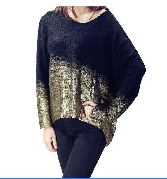 Gold Hot Stamping Loose Long Sleeve Knitted Sweaters For Women Bat sleeves Sweater Knitted Sweaters Warm