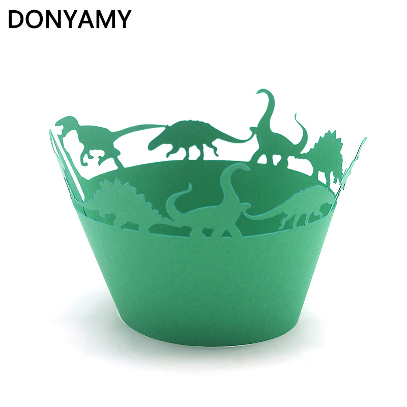 50pcs Dinosaur Jurassic era Cupcake Wrappers, Cup cake Muffin Paper Wrapper Halloween Birthday Party Home Decoration Supplies