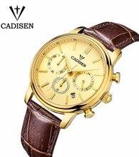 Cadisen Reloj De Lujo de Los Hombres 6 Punteros Fecha Auto de Cuero Genuino Reloj 30 M Resistente Al Agua Reloj de Los Hombres Reloj de Cuarzo Hombre de Oro Dial