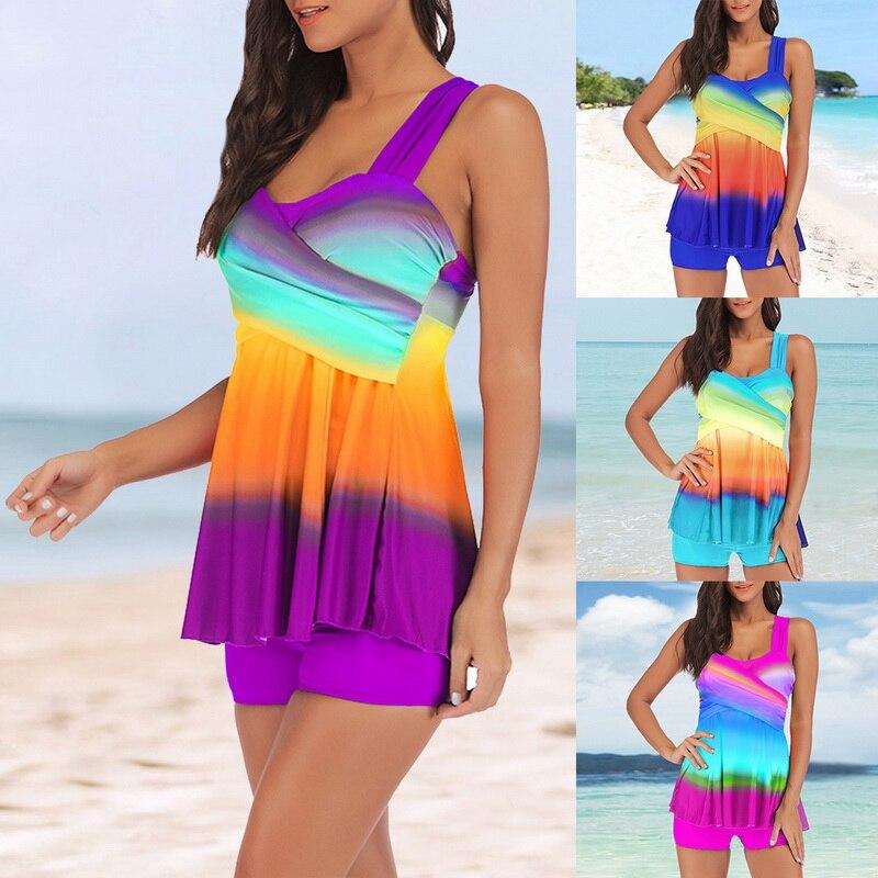 Women Tankinis 2019 Swimwear Plus Size S-5XL Women Bikinis Mujer Colorful Tankini Mid Waist Push Up SwimSuit Beach Bikini Set