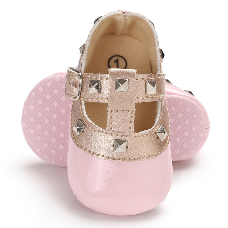 Fashion Autumn Winter Stitching Rivet Princess Shoes Cute Baby Girl Soft Soled PU Shoes Infant Walking Dress Cradle Shoe Fsd