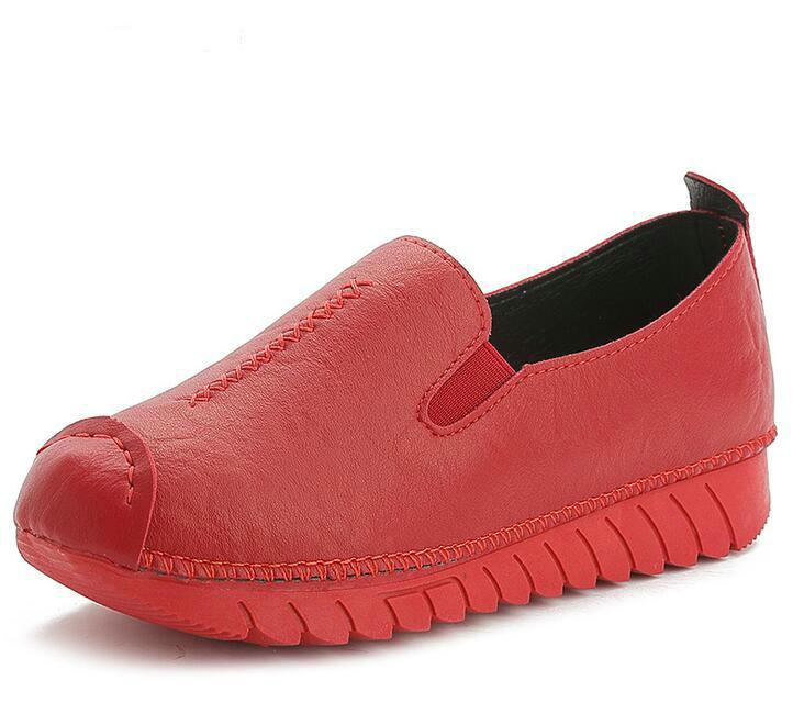 4 Genuino 2017 5 Nueva Rojo 6 Primavera Mujeres Mocasines Zapatos Planos Mujer 1 Moda Negro 2 Cuero 3 Soft Casual Otoño De U4qUHX
