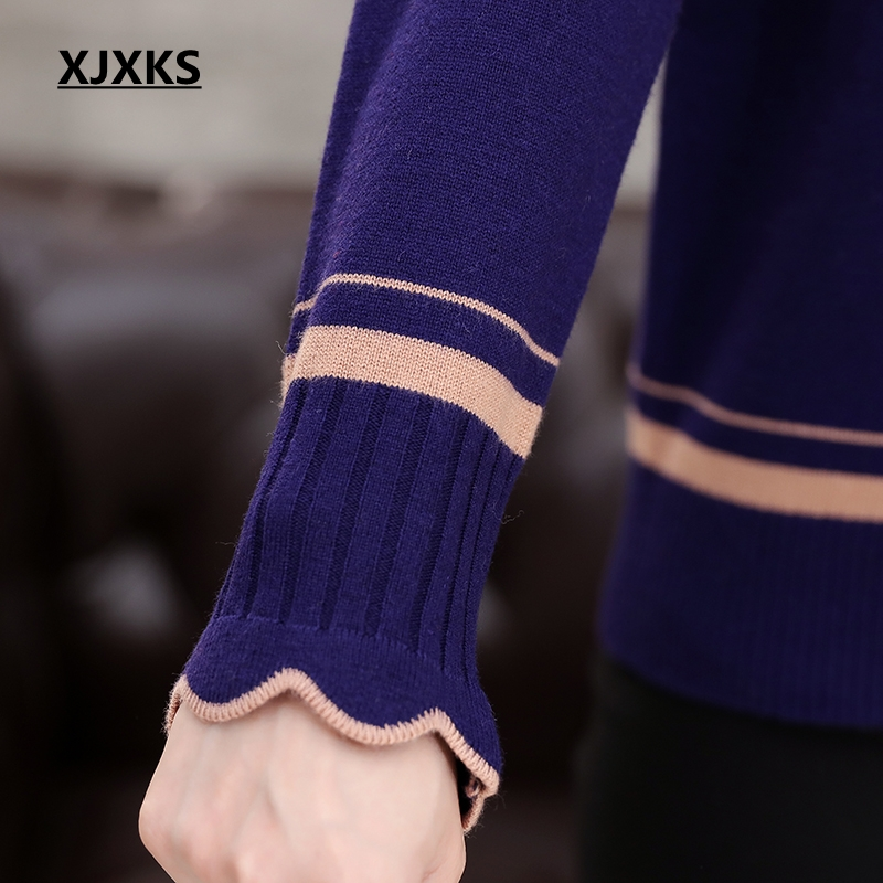 Image 5 - XJXKS Spring And Autumn Long sleeved Sweater Solid Color Lotus  Leaf Collar Plus Size Loose Plus Size Cashmere Women Sweaterspring and  autumncashmere womens sweaterswomen sweater