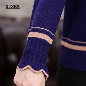 Image 5 - Xjxks 봄과 가을 긴팔 스웨터 단색 연꽃 잎 칼라 플러스 크기 느슨한 플러스 크기 캐시미어 여성 스웨터