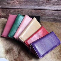 100% real genuine Lizard leather skin wallet and purse bank credit card coin holder case wallet with cow skin lining free ship