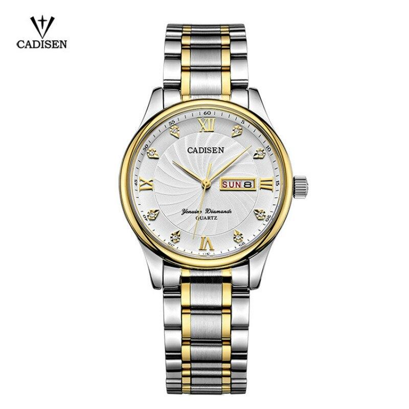 все цены на 2018 CADISEN Men's Fashion Business Quartz Watch Male Wristwatches Waterproof Stainless Steel Watches Relogio Masculino
